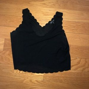 Black eyelet flowy crop top